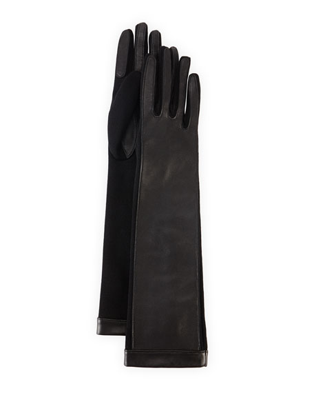 Long Lambskin Gloves with Suede, Black