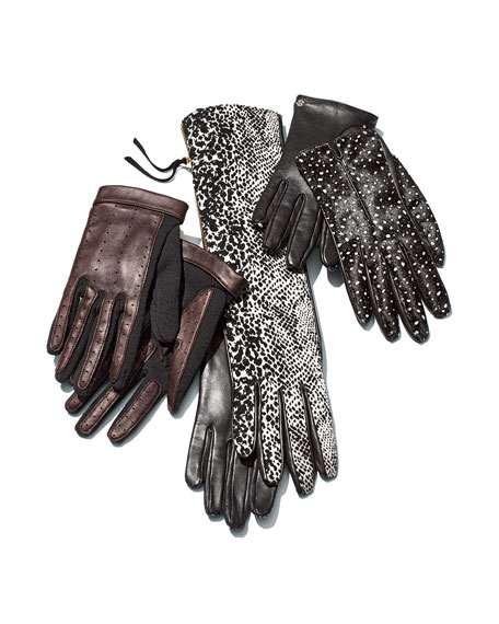 Leather & Wool Driving Gloves, Dark Gray