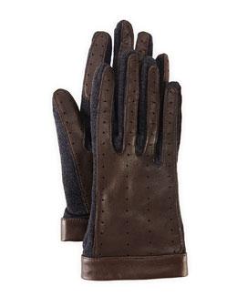 Lanvin Leather & Wool Driving Gloves, Dark Gray