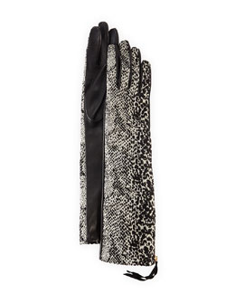 Lanvin Speckled Faux Fur & Leather Gloves