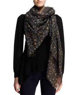 Lanvin Leopard-Print Stole, Brown/Black/Multi