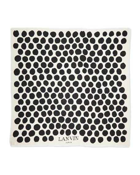 Polka-Dot Cashmere/Silk Scarf, White/Black