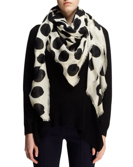 Polka-Dot Cashmere/Silk Scarf, White/Black