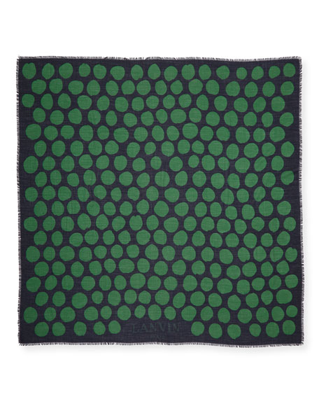 Dotted Cashmere/Silk Scarf, Blue/Green
