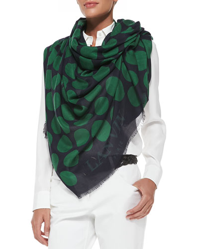 Lanvin Dotted Cashmere/Silk Scarf, Blue/Green
