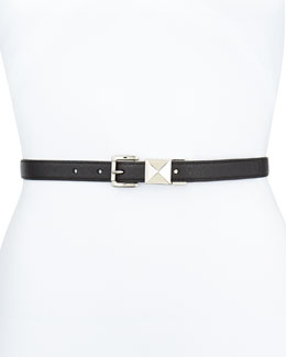 MICHAEL Michael Kors 20mm Pyramid-Stud Belt, Black