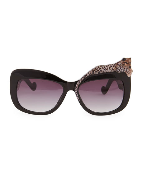 Rose et la Mer Leopard Sunglasses, Black