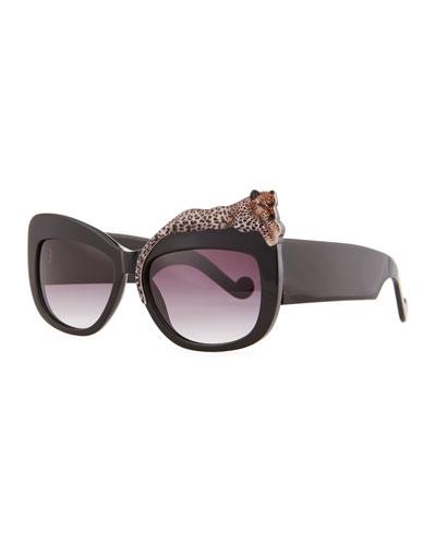Anna-Karin Karlsson Rose et la Mer Leopard Sunglasses, Black