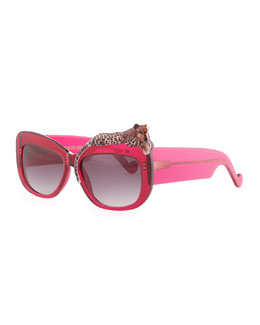 Anna-Karin Karlsson Rose et la Mer Leopard Sunglasses, Red