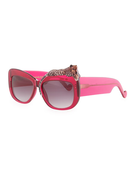 Rose et la Mer Leopard Sunglasses, Red