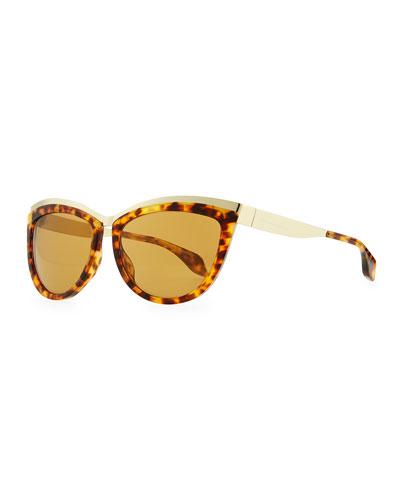 Alexander McQueen Colorblock Cat-Eye Sunglasses, Brown Tortoise/Gold