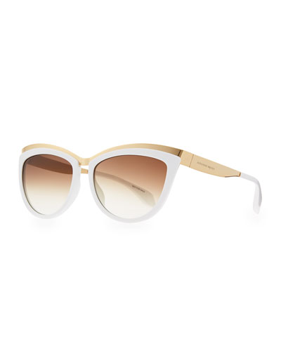 Alexander McQueen Colorblock Cat-Eye Sunglasses, White/Gold
