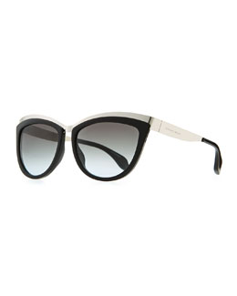 Alexander McQueen Colorblock Cat-Eye Sunglasses, Black/Silver