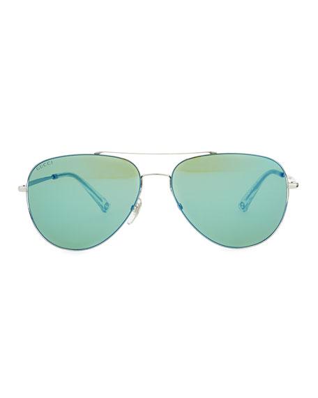 Gucci Flash-Lens Aviator Sunglasses, Gray/Green