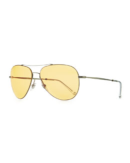 Gucci Flash-Lens Aviator Sunglasses, Dark Gray/Yellow