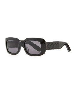 Bottega Veneta Square Sunglasses with Intrecciato Leather Arms, Black