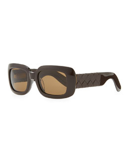 Bottega Veneta Square Sunglasses with Intrecciato Leather Arms, Brown