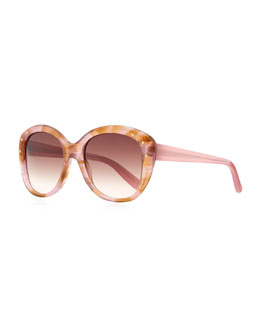 Bottega Veneta Large Variegated Sunglasses with Studs, Pink/Brown