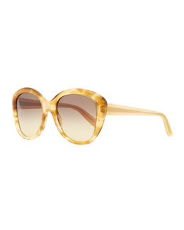 Bottega Veneta Large Variegated Sunglasses with Studs, Yellow/Brown