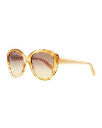 Bottega Veneta Large Variegated Sunglasses with Studs, Yellow/Brown