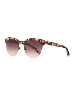 Bottega Veneta Half-Rim Tortoise Sunglasses, Pink/Brown