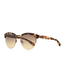 Bottega Veneta Half-Rim Tortoise Sunglasses, Tan/Brown