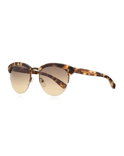 Bottega Veneta Half-Rim Tortoise Sunglasses, Tan/Brown