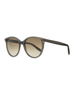 Bottega Veneta Matte-Temple Round Sunglasses, Dark Gray