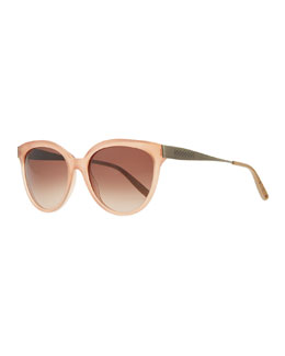 Bottega Veneta Transparent-Lens Tapered-Etched-Arm Sunglasses, Pink