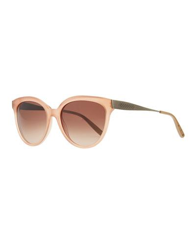 Bottega Veneta Transparent-Lens Tapered-Etched-Arm Sunglasses, Pink