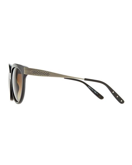 Transparent-Lens Tapered-Etched-Arm Sunglasses, Black