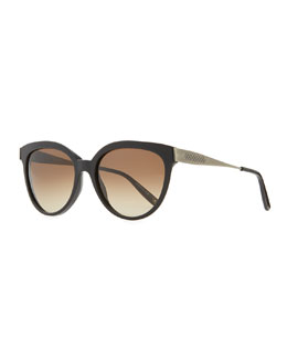 Bottega Veneta Transparent-Lens Tapered-Etched-Arm Sunglasses, Black