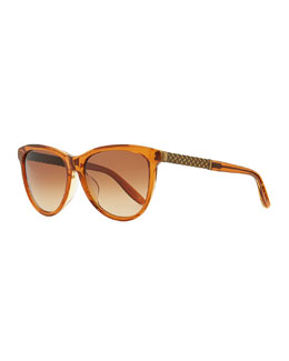 Bottega Veneta Intrecciato-Arm Acetate Sunglasses, Brown