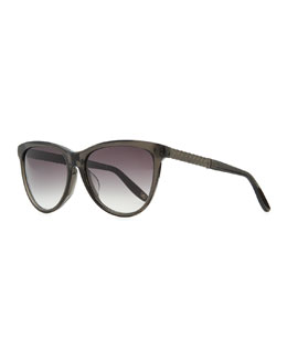 Bottega Veneta Intrecciato-Arm Acetate Sunglasses, Dark Gray
