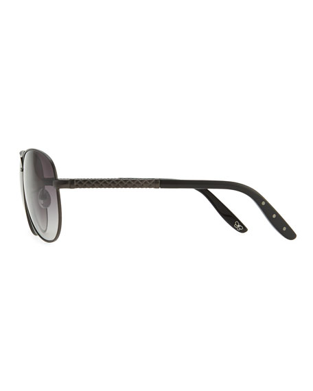 Metal Aviator Sunglasses with Intrecciato, Gray