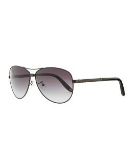 Bottega Veneta Metal Aviator Sunglasses with Intrecciato, Gray