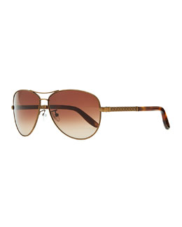 Bottega Veneta Metal Aviator Sunglasses with Intrecciato, Golden