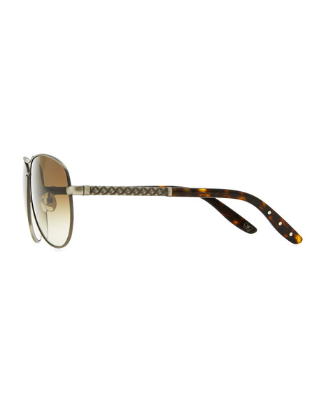 Metal Aviator Sunglasses with Intrecciato, Silvertone