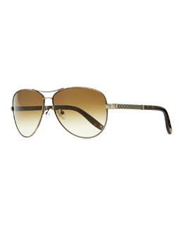 Bottega Veneta Metal Aviator Sunglasses with Intrecciato, Silvertone