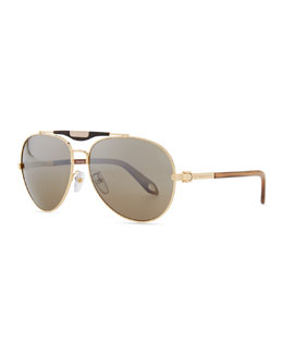 Givenchy Shiny Aviator Sunglasses with Flash Lens, Golden