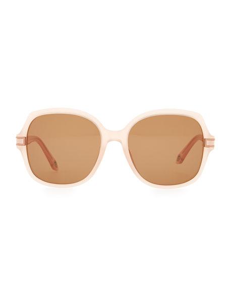 Round Plastic Sunglasses, Pink Beige