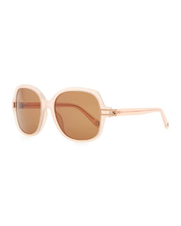 Givenchy Round Plastic Sunglasses, Pink Beige