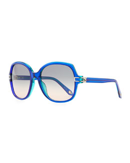 Givenchy Round Plastic Sunglasses, Blue