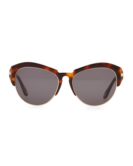 Round Plastic Rimless-Bottom Sunglasses, Brown Tortoise