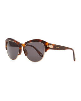 Givenchy Round Plastic Rimless-Bottom Sunglasses, Brown Tortoise