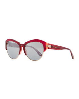 Givenchy Round Plastic Rimless-Bottom Sunglasses, Violet/Red