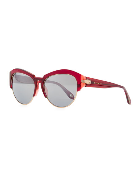 Round Plastic Rimless-Bottom Sunglasses, Violet/Red