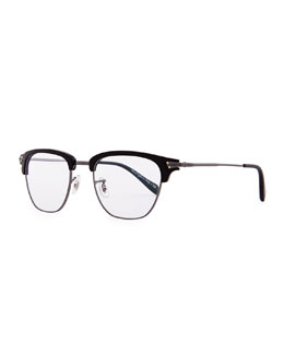Oliver Peoples Banks Half-Rim Fashion Glasses, Black