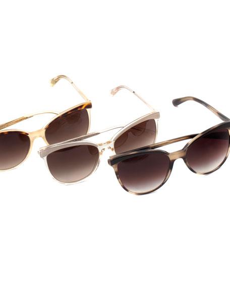 Ria Cat-Eye Sunglasses, Brown/Golden
