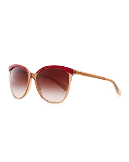 Oliver Peoples Ria Cat-Eye Sunglasses, Cranberry